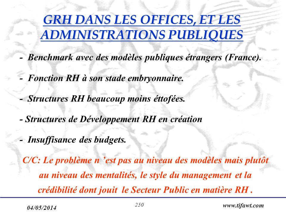 GRH DANS LES OFFICES, ET LES ADMINISTRATIONS PUBLIQUES