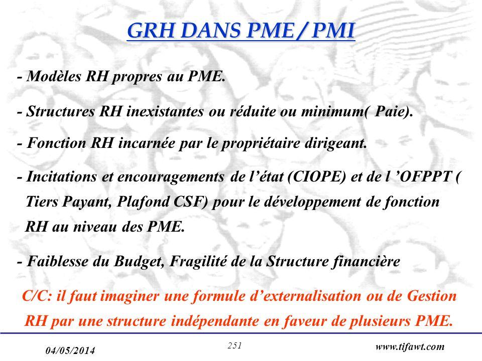 GRH DANS PME / PMI - Modèles RH propres au PME.