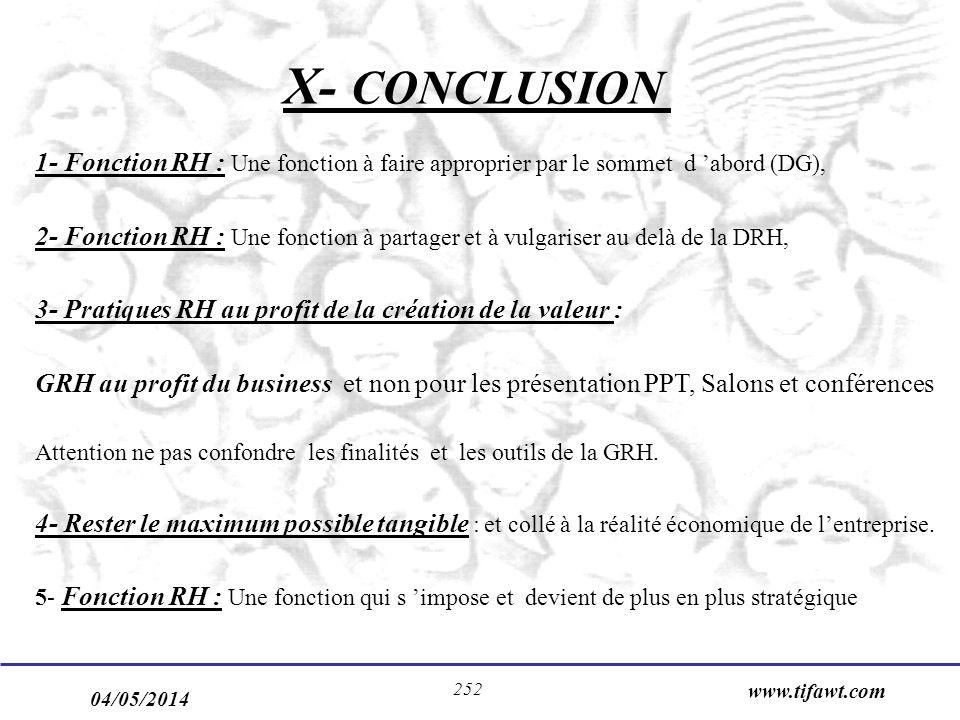 X- CONCLUSION 1- Fonction RH : Une fonction à faire approprier par le sommet d 'abord (DG),