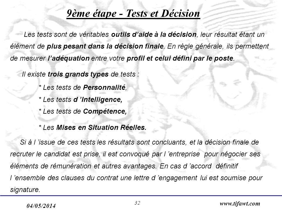 9ème étape - Tests et Décision