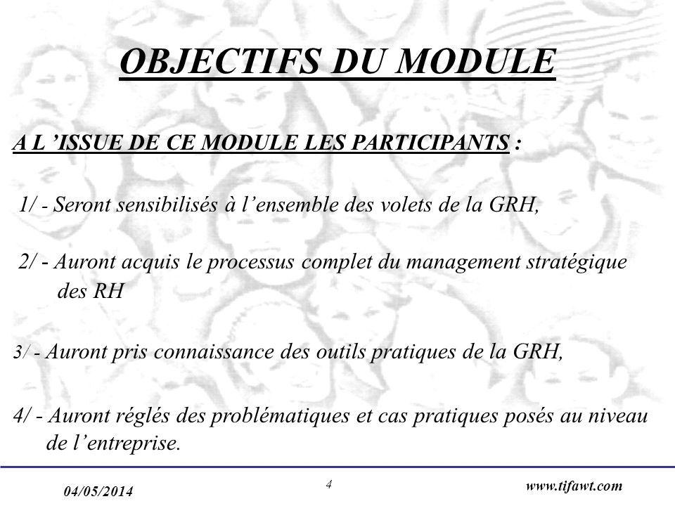 OBJECTIFS DU MODULE A L 'ISSUE DE CE MODULE LES PARTICIPANTS :