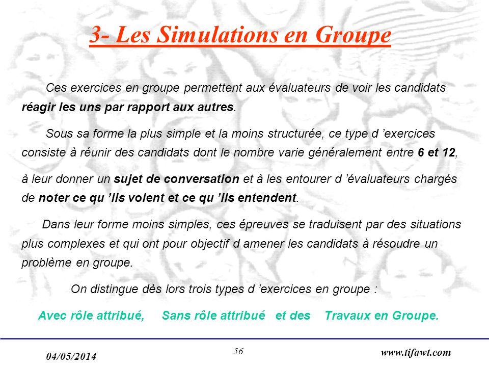 3- Les Simulations en Groupe