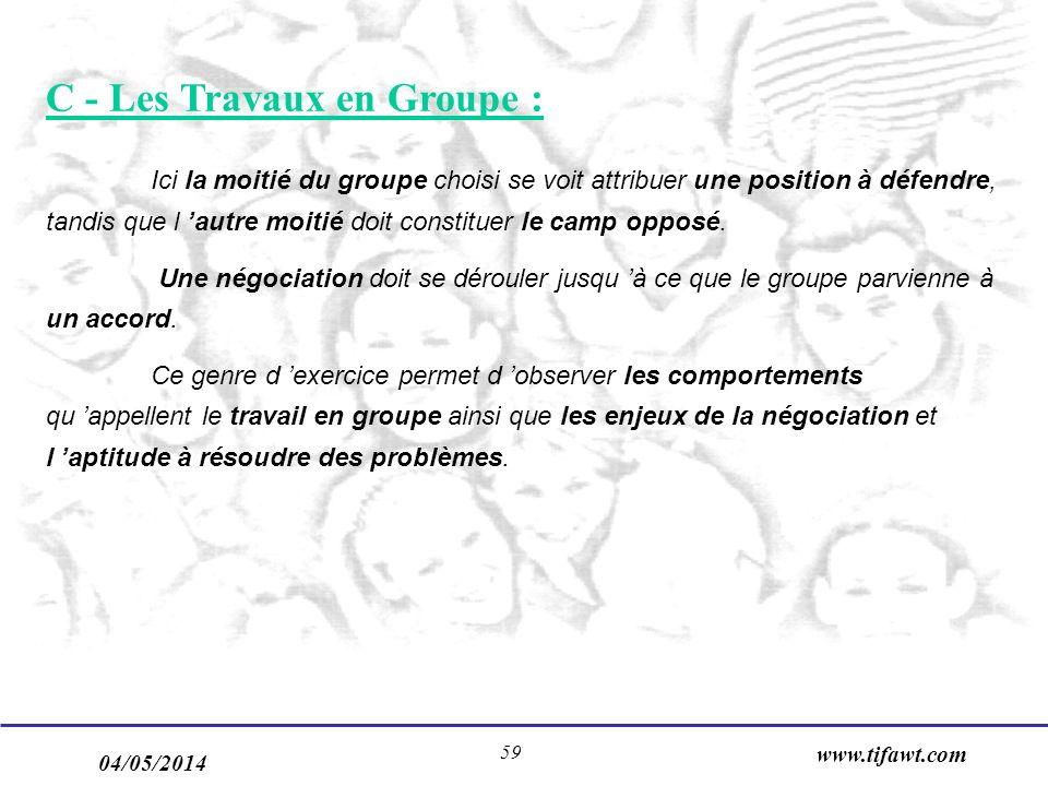 C - Les Travaux en Groupe :