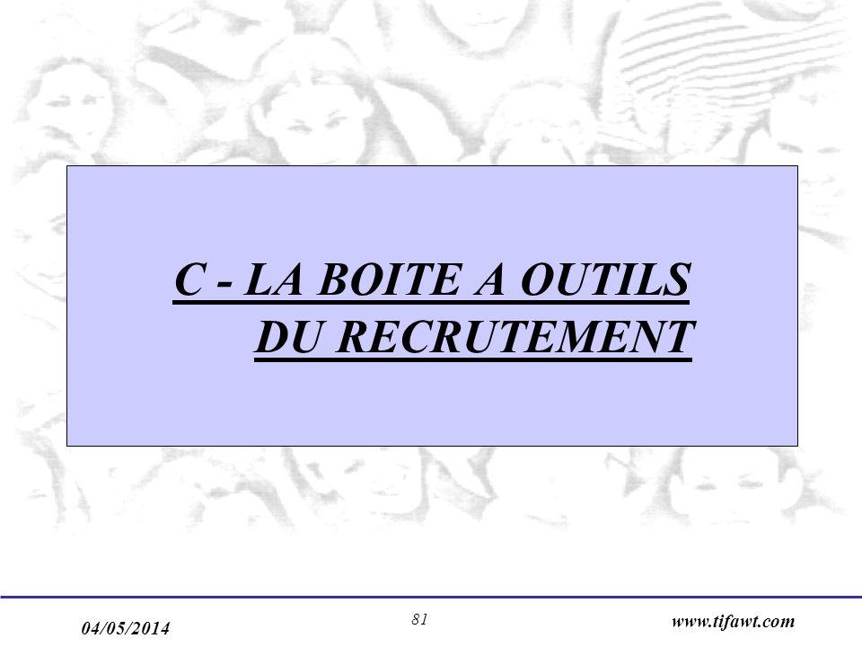 C - LA BOITE A OUTILS DU RECRUTEMENT