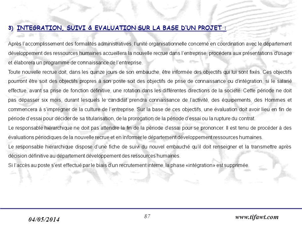 3) INTEGRATION, SUIVI & EVALUATION SUR LA BASE D'UN PROJET :