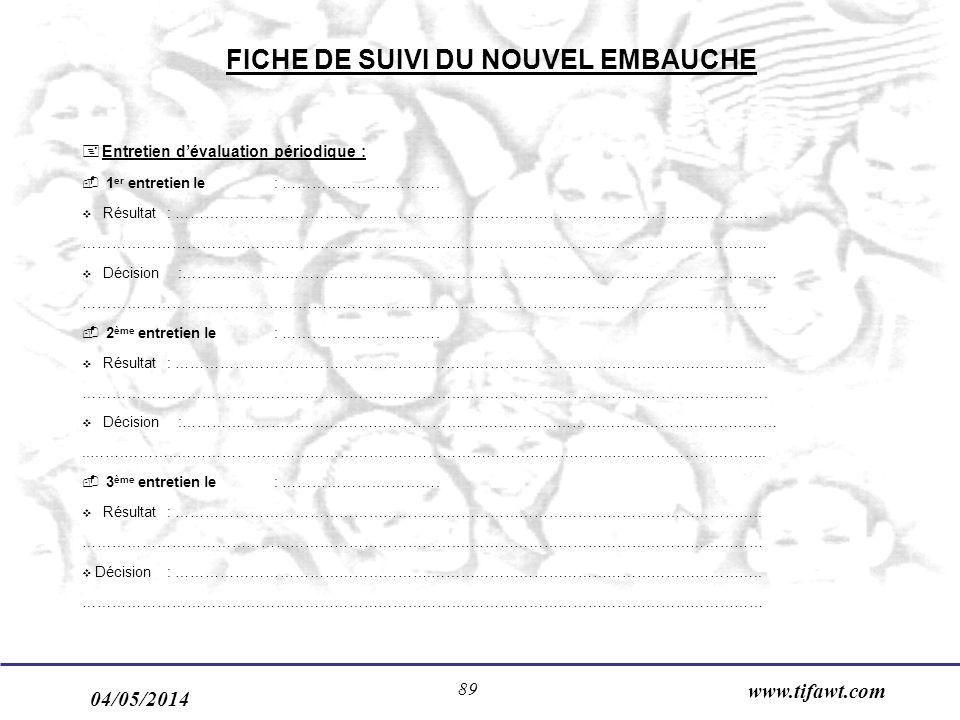 FICHE DE SUIVI DU NOUVEL EMBAUCHE