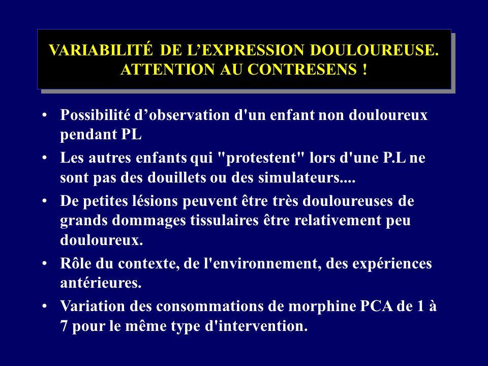 VARIABILITÉ DE L'EXPRESSION DOULOUREUSE. ATTENTION AU CONTRESENS !