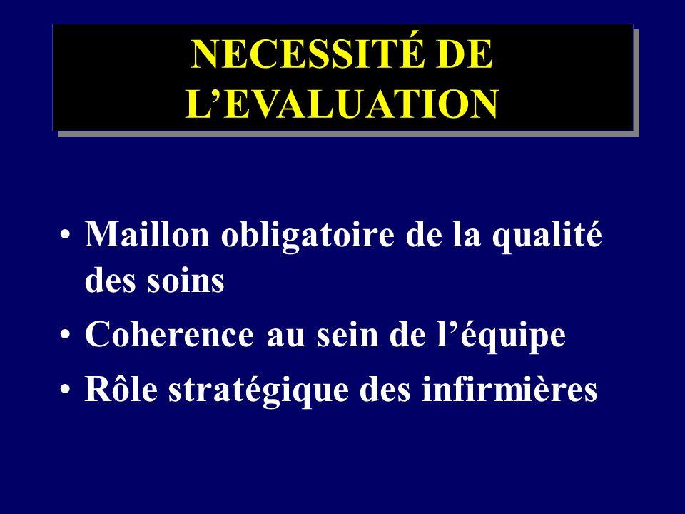 NECESSITÉ DE L'EVALUATION