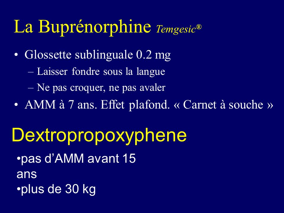 La Buprénorphine Temgesic®