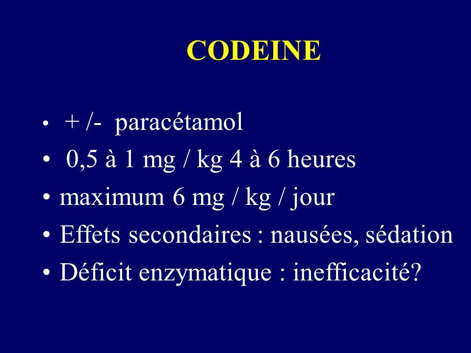 CODEINE 0,5 à 1 mg / kg 4 à 6 heures maximum 6 mg / kg / jour