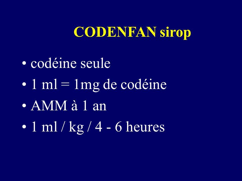CODENFAN sirop codéine seule 1 ml = 1mg de codéine AMM à 1 an 1 ml / kg / 4 - 6 heures