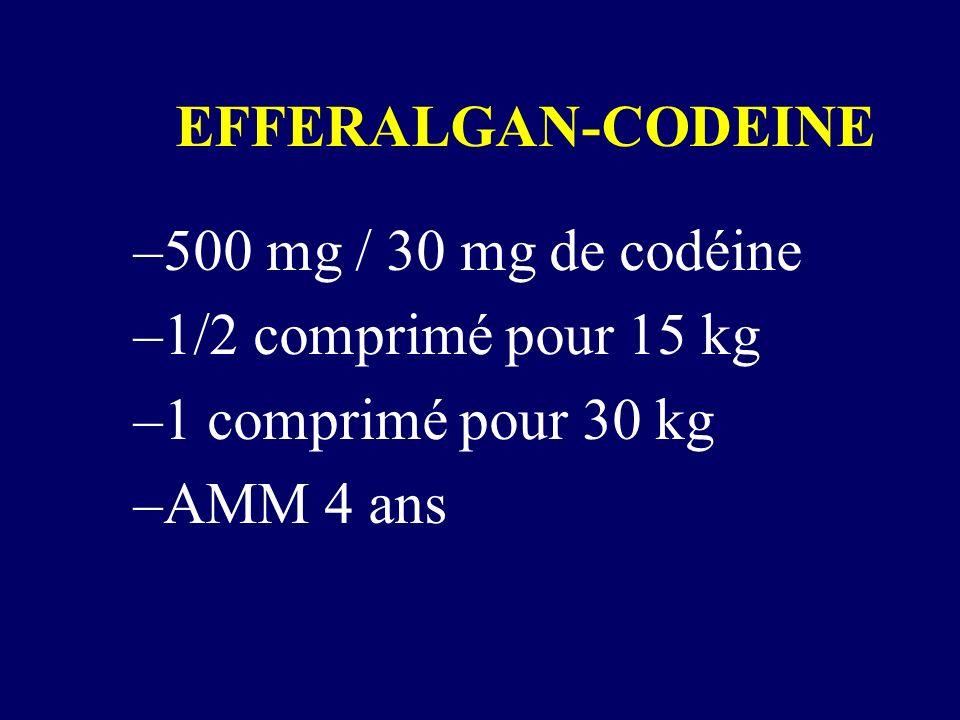 EFFERALGAN-CODEINE 500 mg / 30 mg de codéine. 1/2 comprimé pour 15 kg.