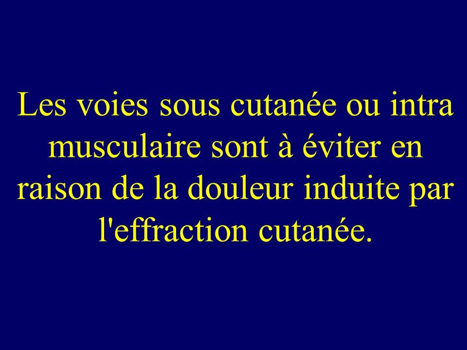 Les voies sous cutanée ou intra musculaire sont à éviter en raison de la douleur induite par l effraction cutanée.