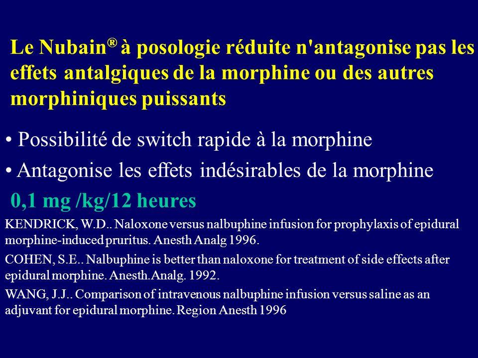 Possibilité de switch rapide à la morphine