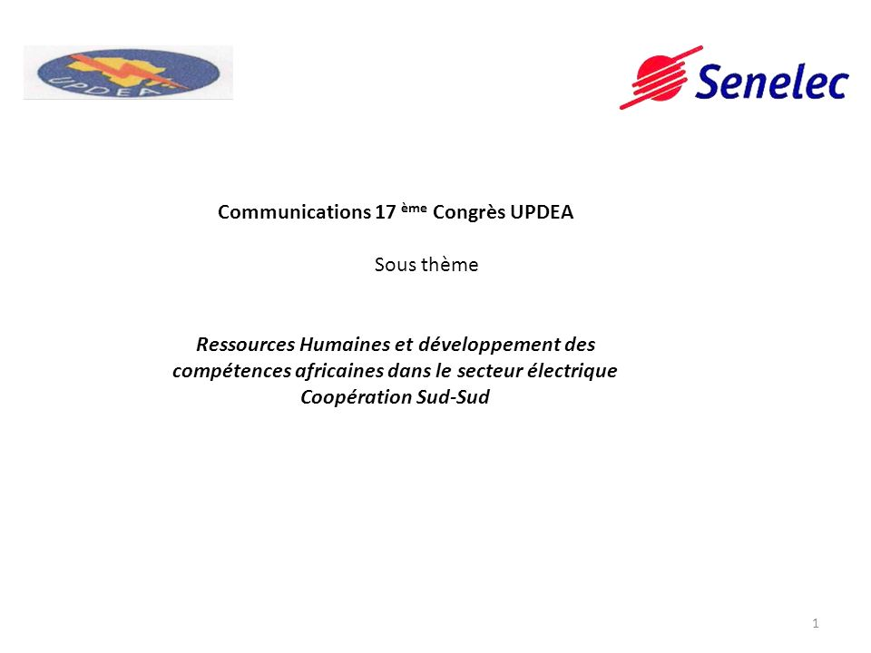 Communications 17 ème Congrès UPDEA