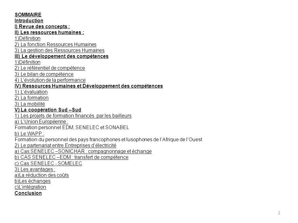 SOMMAIRE Introduction. I) Revue des concepts : II) Les ressources humaines : 1)Définition. 2) La fonction Ressources Humaines.