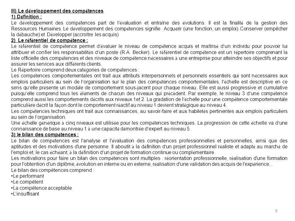 III) Le développement des compétences