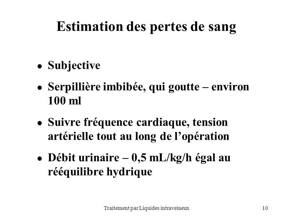 Estimation des pertes de sang
