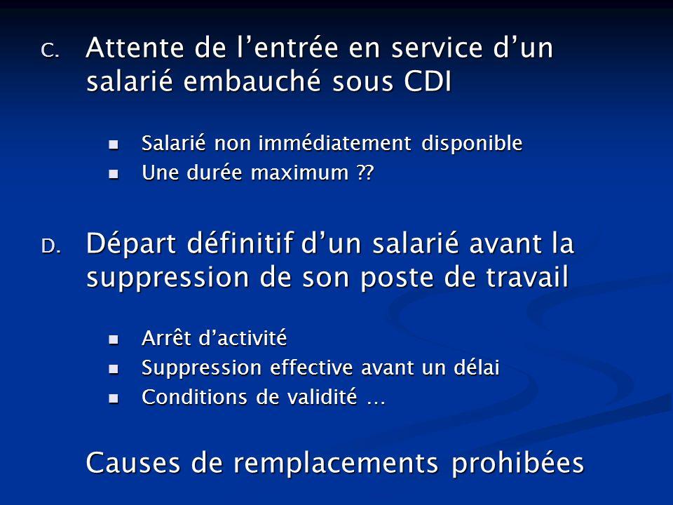 Attente de l'entrée en service d'un salarié embauché sous CDI
