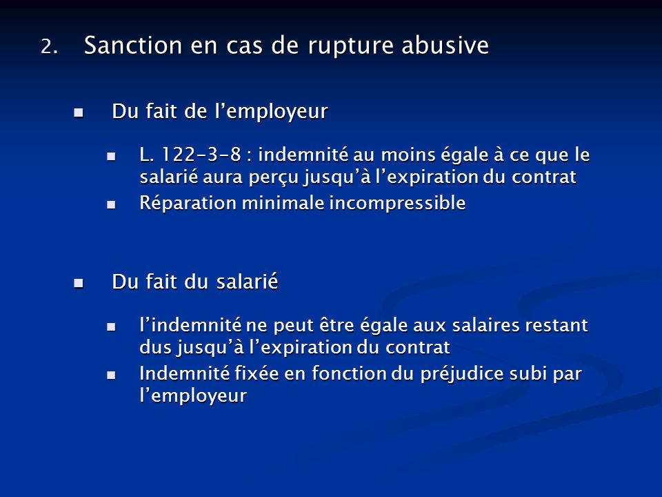 Sanction en cas de rupture abusive