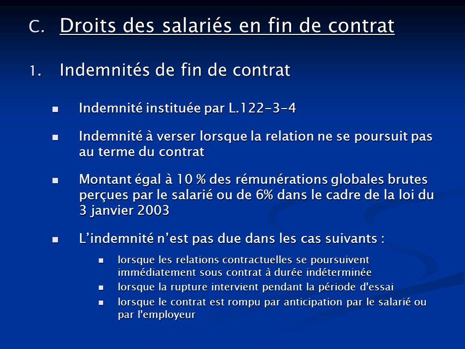 Droits des salariés en fin de contrat