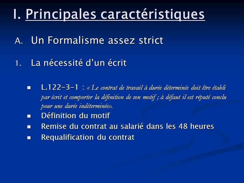 I. Principales caractéristiques