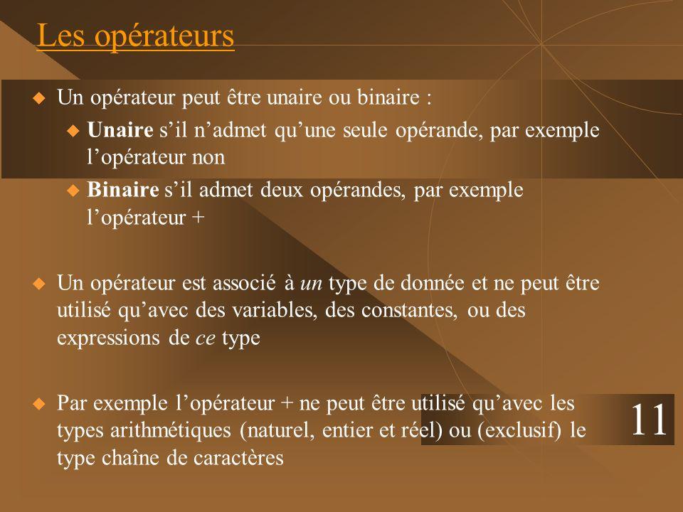 11 Les opérateurs Un opérateur peut être unaire ou binaire :