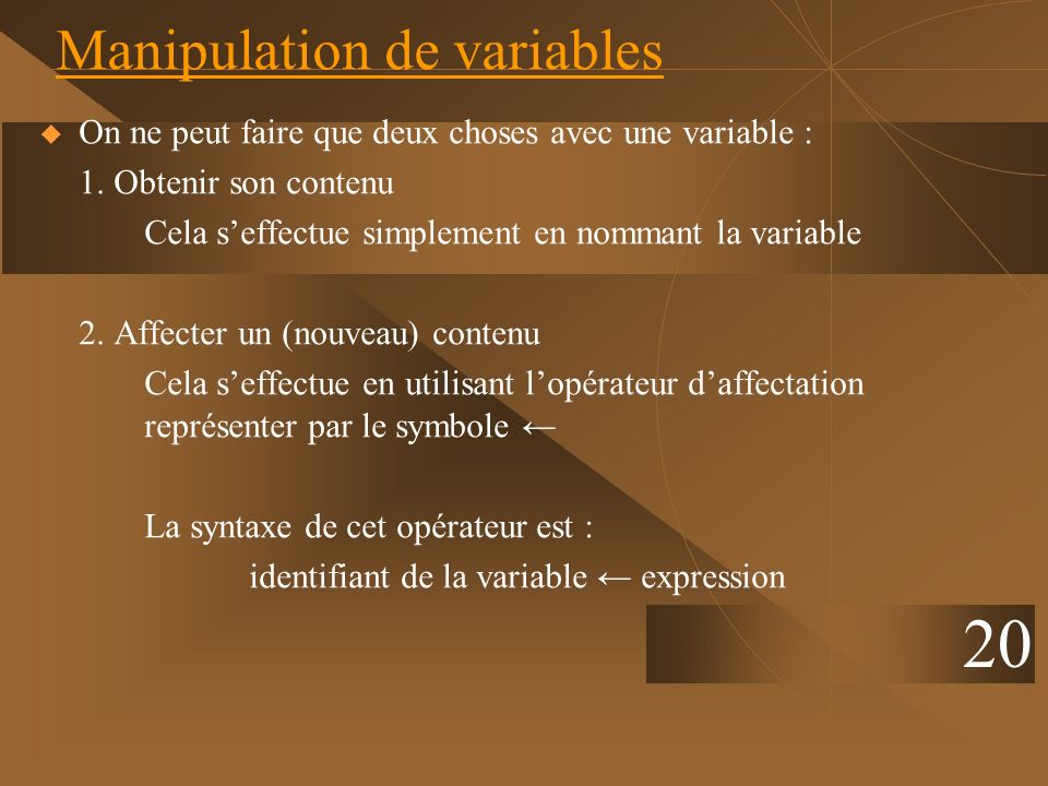 Manipulation de variables