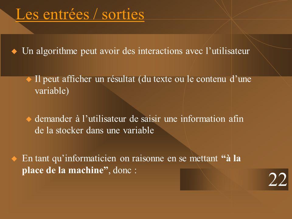 Les entrées / sorties Un algorithme peut avoir des interactions avec l'utilisateur.