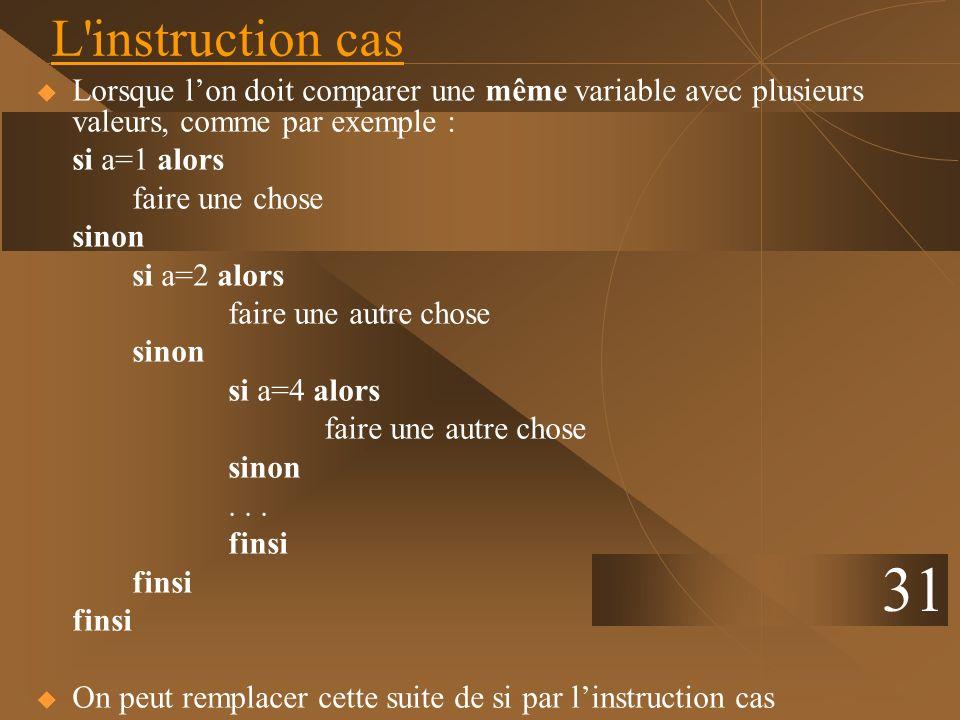L instruction casLorsque l'on doit comparer une même variable avec plusieurs valeurs, comme par exemple :