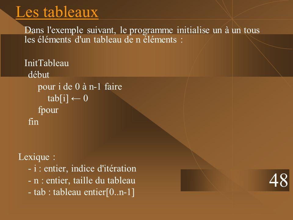 Les tableaux Dans l exemple suivant, le programme initialise un à un tous les éléments d un tableau de n éléments :