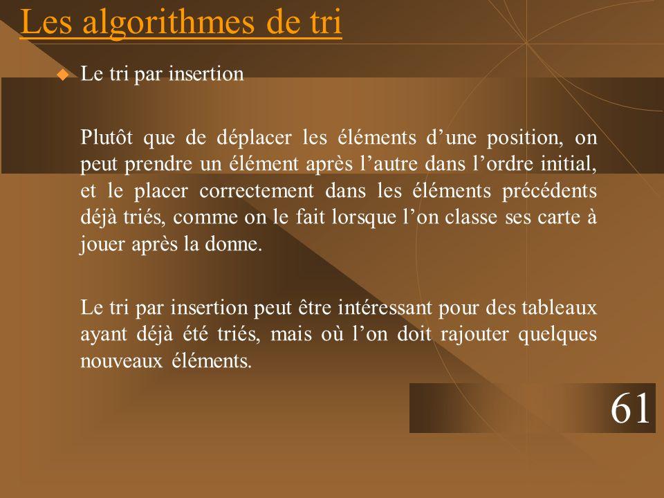 61 Les algorithmes de tri Le tri par insertion