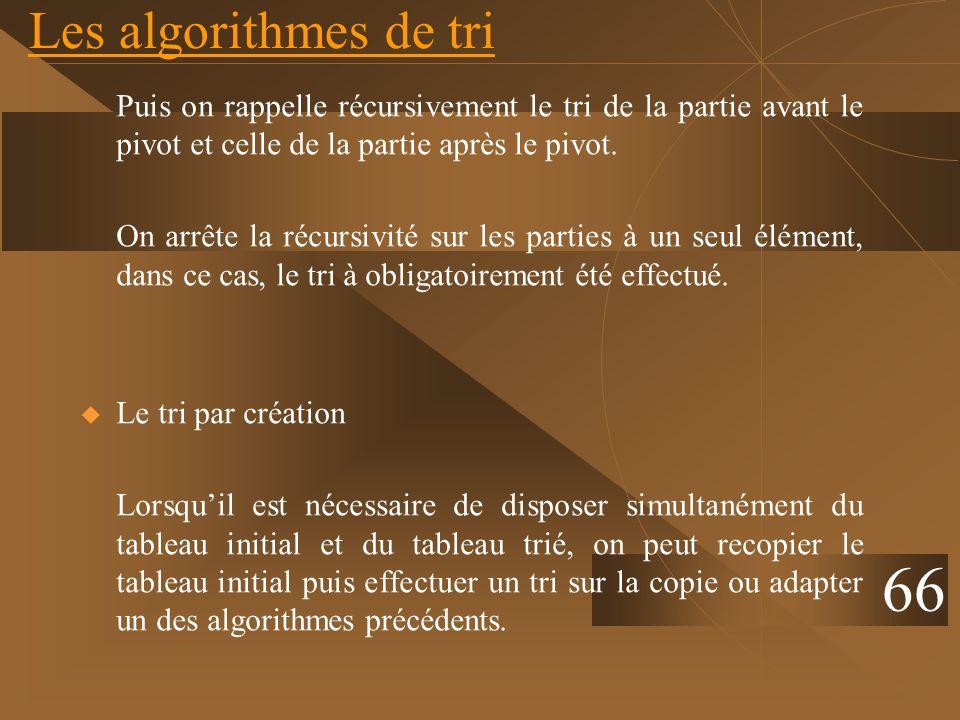 Les algorithmes de tri Puis on rappelle récursivement le tri de la partie avant le pivot et celle de la partie après le pivot.