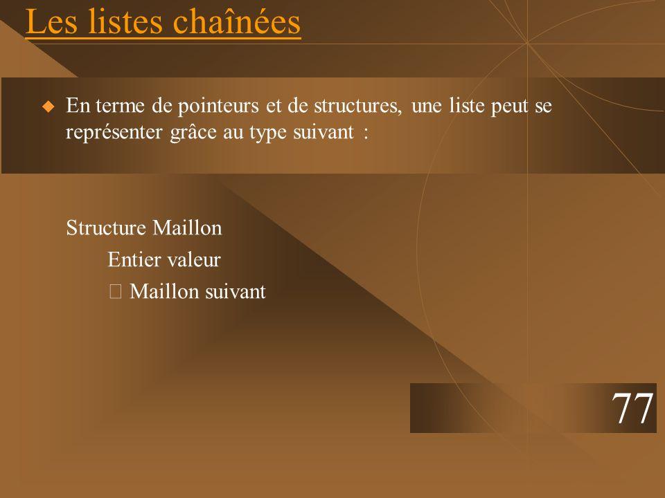 Les listes chaînéesEn terme de pointeurs et de structures, une liste peut se représenter grâce au type suivant :