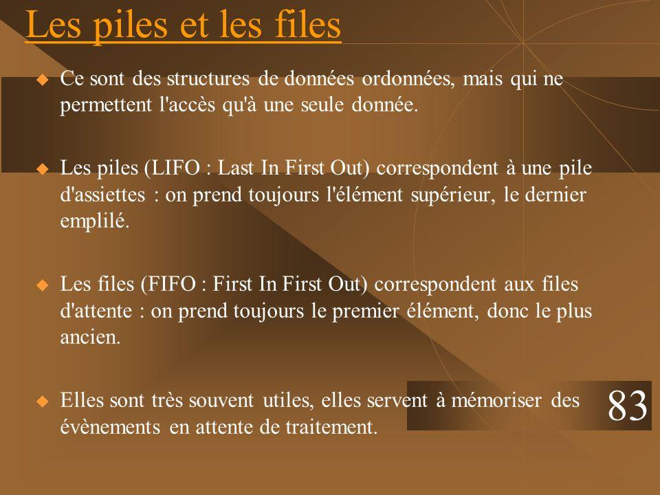Les piles et les files Ce sont des structures de données ordonnées, mais qui ne permettent l accès qu à une seule donnée.