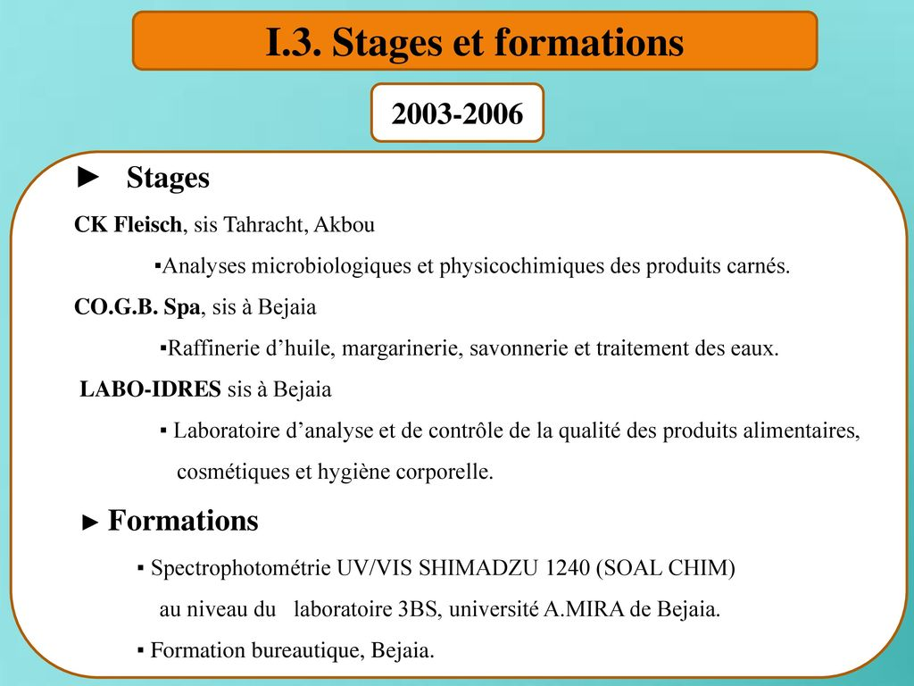 I.3. Stages et formations ► Stages