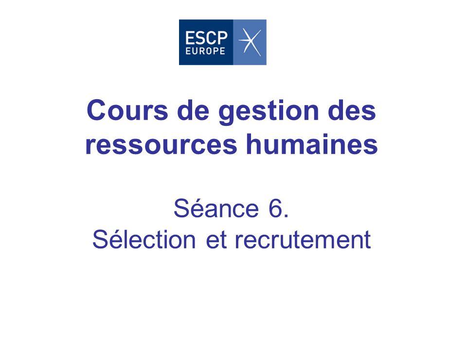 Cours de gestion des ressources humaines Séance 6