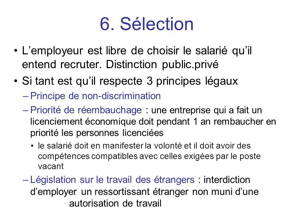 6. Sélection L'employeur est libre de choisir le salarié qu'il entend recruter. Distinction public.privé.