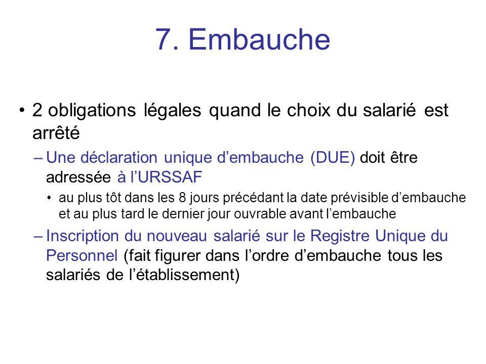7. Embauche 2 obligations légales quand le choix du salarié est arrêté