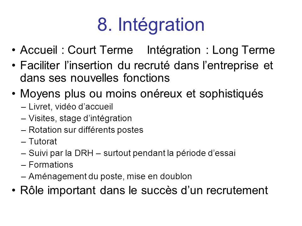 8. Intégration Accueil : Court Terme Intégration : Long Terme