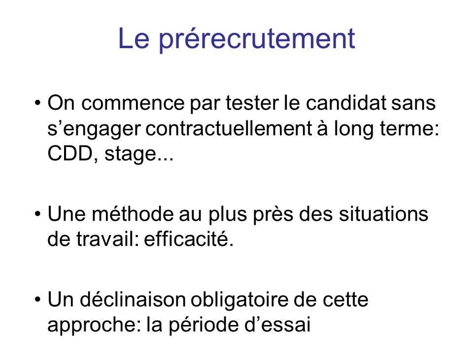 Le prérecrutement On commence par tester le candidat sans s'engager contractuellement à long terme: CDD, stage...