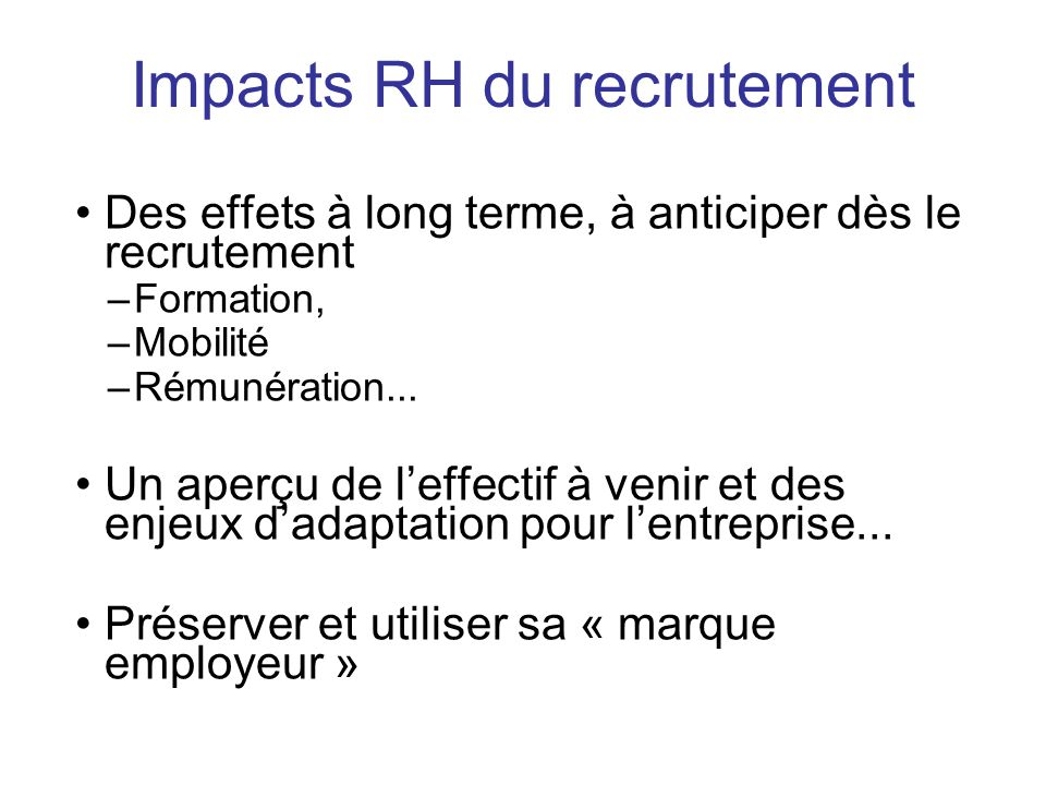 Impacts RH du recrutement