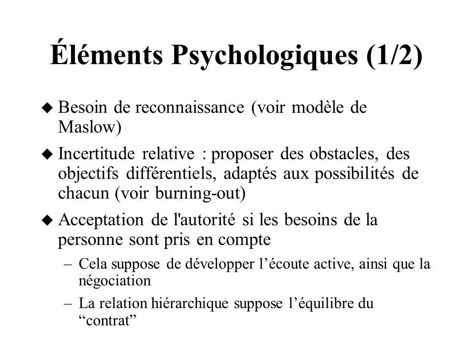 Éléments Psychologiques (1/2)