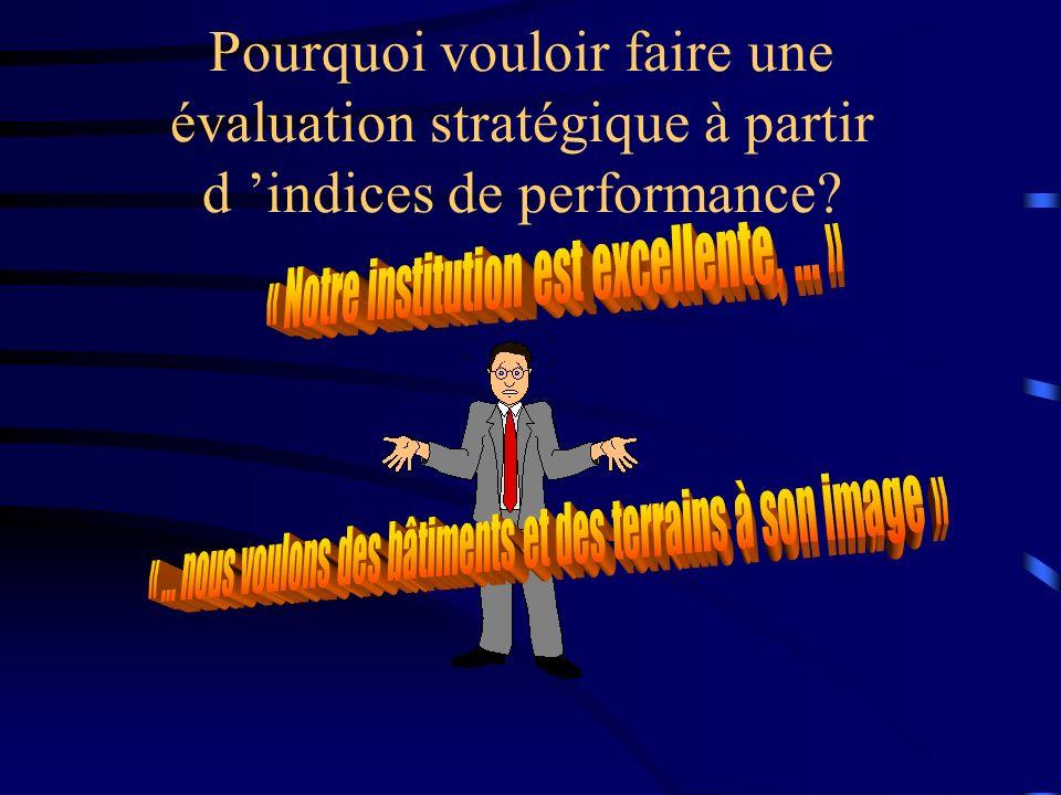 Pourquoi vouloir faire une évaluation stratégique à partir d 'indices de performance