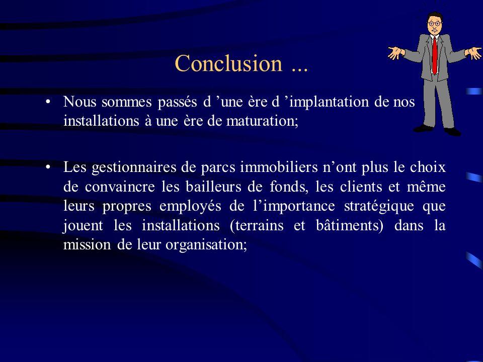 Conclusion ... Nous sommes passés d 'une ère d 'implantation de nos installations à une ère de maturation;