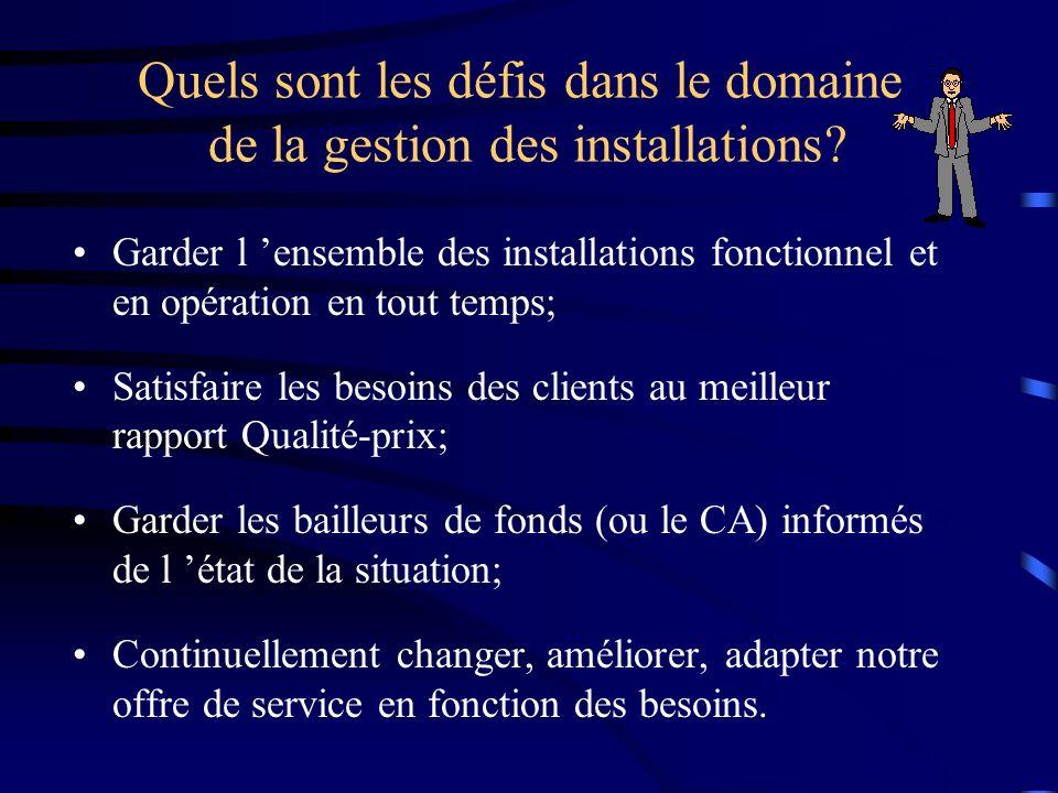 Quels sont les défis dans le domaine de la gestion des installations