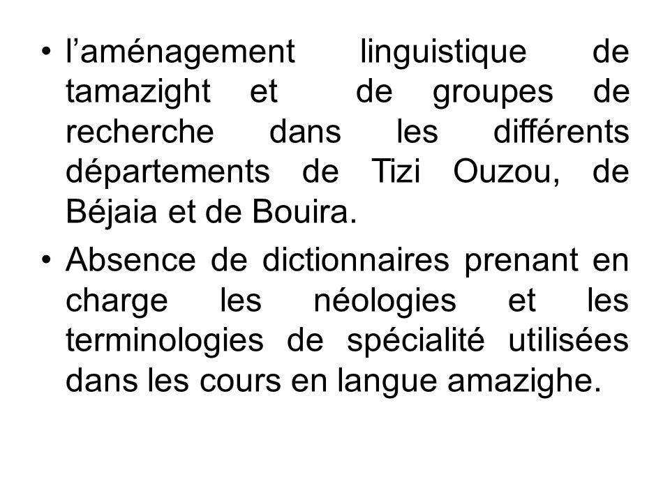 l'aménagement linguistique de tamazight et de groupes de recherche dans les différents départements de Tizi Ouzou, de Béjaia et de Bouira.