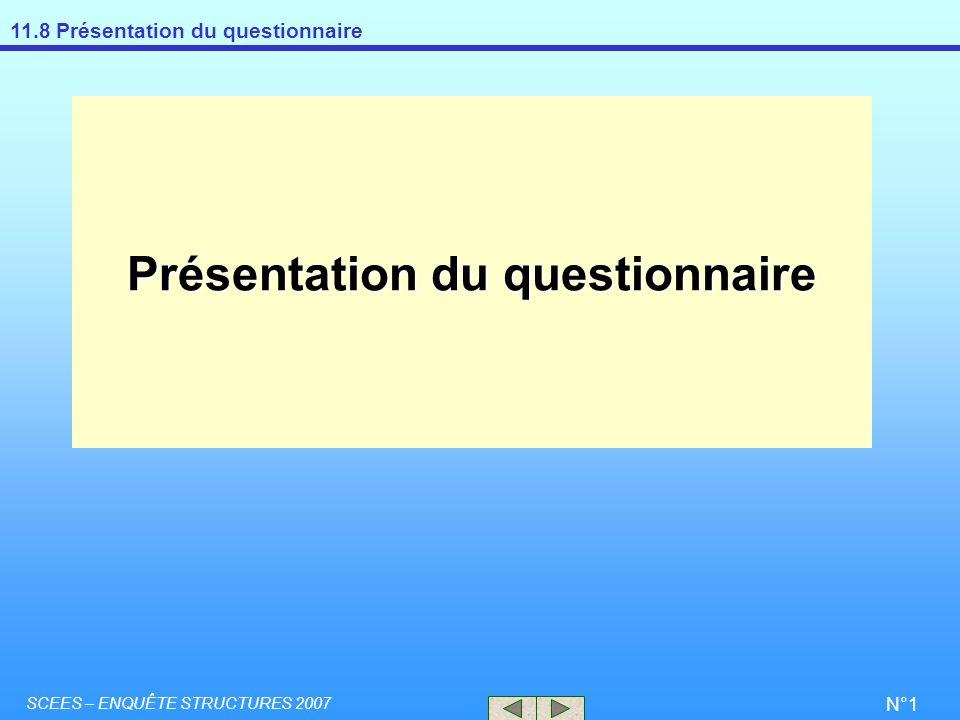 Présentation du questionnaire