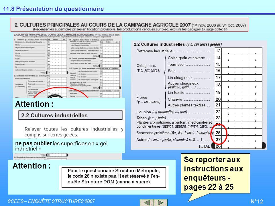 Se reporter aux instructions aux enquêteurs - pages 22 à 25