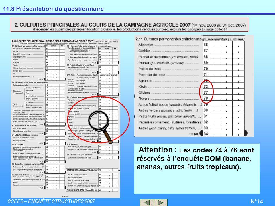 Attention : Les codes 74 à 76 sont réservés à l'enquête DOM (banane, ananas, autres fruits tropicaux).